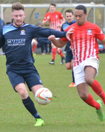 James Tricks battles for the ball as St Neots beat Kings Langley.