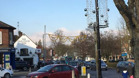 Harpenden Christmas lights are still up in March.
