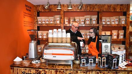 Rob Alexander and Katie Wilson of Smell the Coffee, in St Ives.