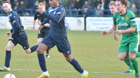 Jevani Brown in action against Hitchin recently.