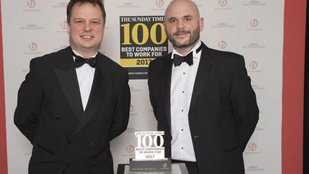Robert Hands from The Sunday Times (left) presenting the award to Oakman's Alex Ford.
