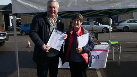 North East Herts MP Sir Oliver Heald joined and Maggie Allen for the final day of petitioning at Ro