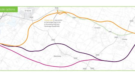Some of the routes being considered as part of the A428 consultation.