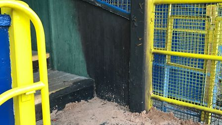 Damage to the stands at St Albans City Football Club in Clarence Park. Picture: Tom Norman