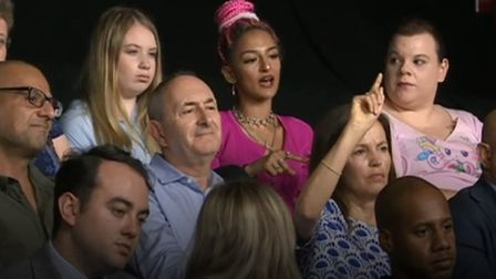 Young audience member criticises Wetherspoon's Tim Martin on Question Time. Photograph: BBC.