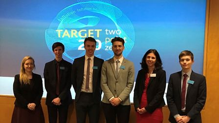Declan Twigg, Daniel Goldingray, Harry Newman-Booth and Max Sweeney with teacher Caroline Creaby and