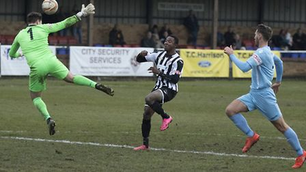 Striker Dubi Ogbonna could return from injury when St Ives go to Kettering tomorrow. Picture: LOUISE