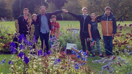 The team visiting Cambridge Botanical Gardens to research bees for their project.