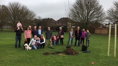 The group at the tree-planting ceremony. Supplied by Robert Dunster.