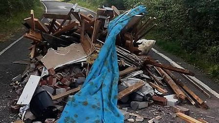 An example of fly-tipping on the B1051