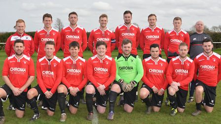Warboys Town, pictured ahead of their 5-3 win against Kings Cliffe, are back row, left to right, Chr
