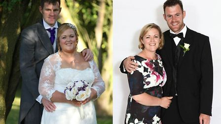 Before and after: Alison Walker on her wedding day with husband Rob, left, and the couple now.