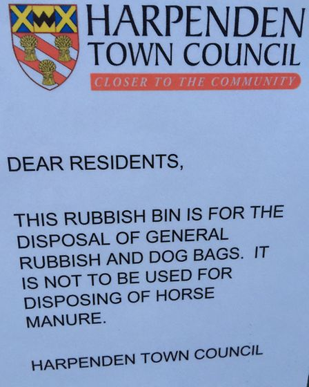 A sign put up by Harpenden Town Council