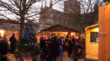 St Albans Christmas Market bar with the cathedral in the background