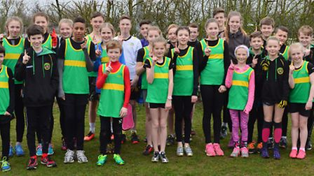 The Hunts AC junior squad after their Frostbite Friendly League succes.