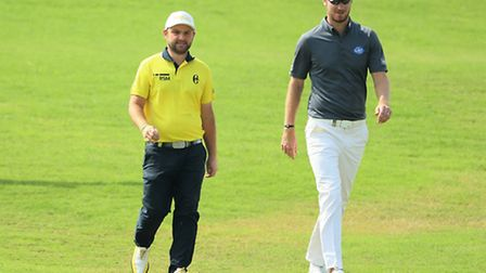 Andy Sullivan and Chris Wood of England at the Doha Golf Club on January 26. Both will be participat