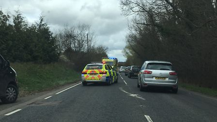A motorbike and a car were involved in the crash on the A1198 near Bassingbourn.