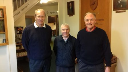 George Hopkins, centre, with second placed Andy Forbes, left, and third place Keith Cridland, right
