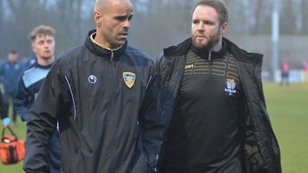 St Neots Town boss Matt Clements (left) was not impressed by his side's performance at Cirencester.