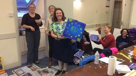 St Albans for Europe making banners ready for the march on Saturday (25)