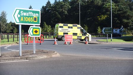 The A134 is closed between Mundford and Thetford, due to a serious RTC. Picture: Ian Burt