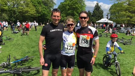 Debenhams Ottaway team at the end of last year's cycle ride. Left to right: Stuart Harries, Claire S