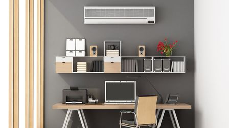 A wall-based storage system can transform a home office