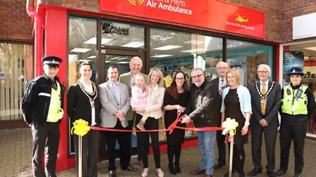 Ray Winstone opens the new Essex & Herts Air Ambulance charity shop in Royston.