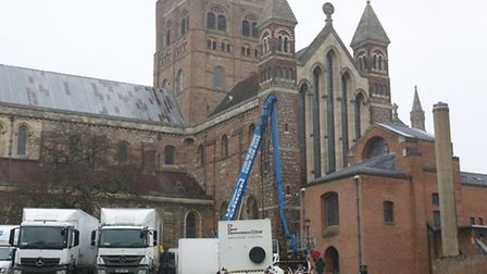 Filming of Netflix series The Crown at St Albans cathedral.
