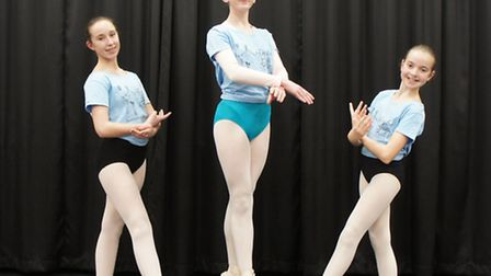 Lauren Burford (13), Tegan Slowe (15) and Emma Williams (11) who are rehearsals for a double bill f