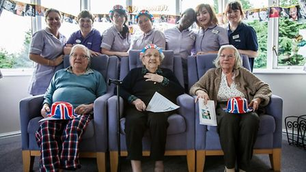 Residents (L-R) Cyrill Taylor Dorothy Llyod and Marianne Barrett with Field Lodge care home
