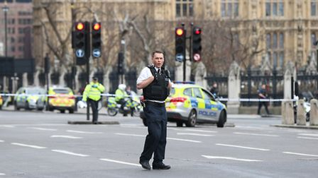 Police outside the Palace of Westminster, London, after sounds similar to gunfire have been heard cl
