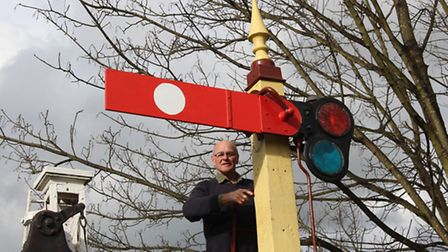 Signal Box Trust chair Tony Furse adding the final touches to the replacement arm.