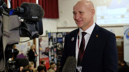 Sandringham School head Alan Gray is interviewed by TV at the event at his school as they prepare to