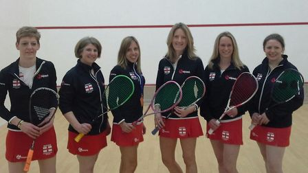 Kate Bradshaw (second from right) during a previous appearance for England over 35s