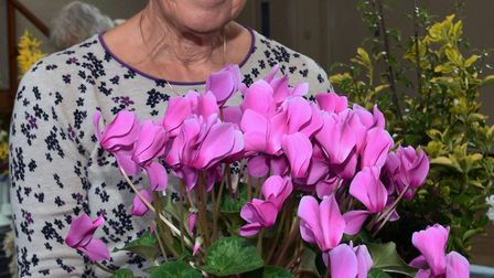 Christine Ridall with an exhibit at the Buckden Gardeners' Association Spring Show.