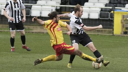 Josh Dawkin scored both goals in St Ives Town's recent Southern League Challenge Cup semi-final vict