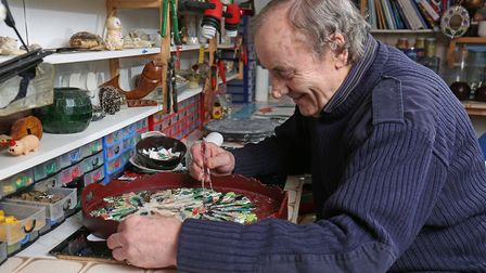 Tony Williamson runs the Meadway Mosaics club from a studio in his back garden.