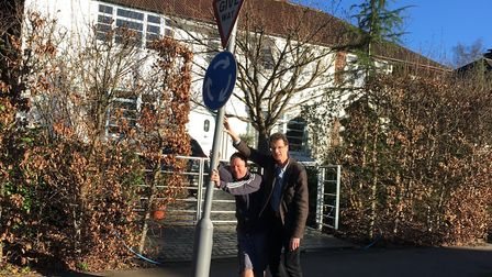 Cllr Sandy Walkington and Terence Goode of Cottonmill Lane with a local sign.