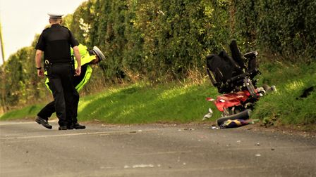 The mobility scooter after the crash. Picture: Clive Porter