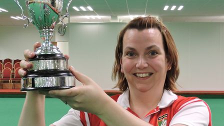 Michelle Barlow with her English Indoor Bowls Association women's singles title.Picture: DAVID RHYS