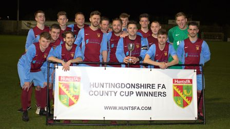 Eaton Socon Reserves celebrate winning the Hunts Junior Cup. Picture: KEITH MOSS