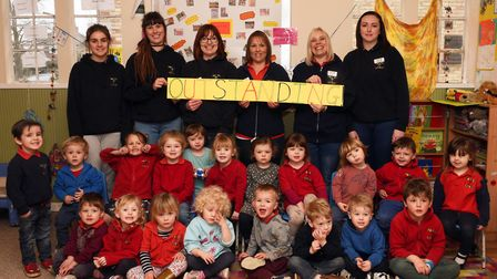 An outstanding ofsted report for Somersham pre-school. Back row L-R: Brooke Jackson, Emma Fleming, A