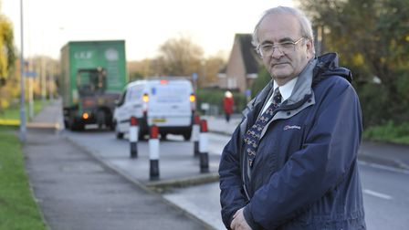 """Councillor Mike Shellens is asking for views about a """"dangerous chicane"""" in Sapley Road, Hartford"""