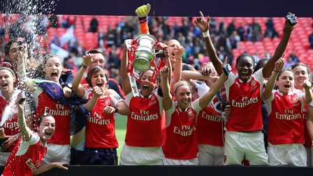 Arsenal Ladies lift the Women's FA Cup in 2015.