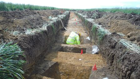 One of the trial trenches on the A14 scheme