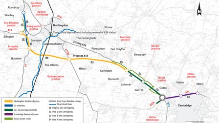 A map detailing the route the new A14 will take.