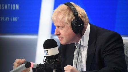 Conservative party leadership candidate Boris Johnson taking part in a radio interview with Nick Fer