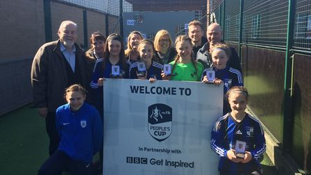 The St Ives Rangers Under 14 girls team who won their regional semi-final in the FA People's Cup pic