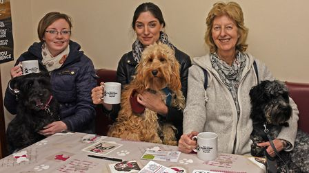 Katie Knight, with dog Bella, Nathalie Sexton and Dougal, and Jan Sexton with dog Dylan.